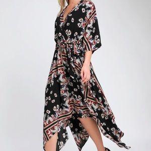 LULU'S Delta black floral wrap midi dress